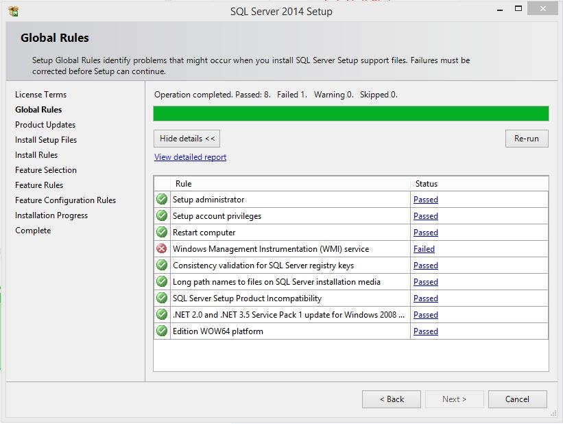 راه حل خطاهای نصب اس کیو ال سرور : WMI Service Error…