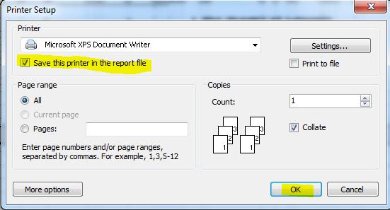انتخاب پرینتر پیش فرض بصورتیکه که در تنظیمات هر گزارش چاپی بصورت جداگانه ذخیره شود